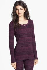Splendid Fair Isle Thermal Henley in Purple (Eggplant) - Lyst