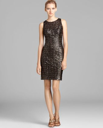 Sue Wong Short Metallic Dress Sleeveless - Lyst