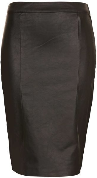Topshop Faux Leather Pencil Skirt - Lyst