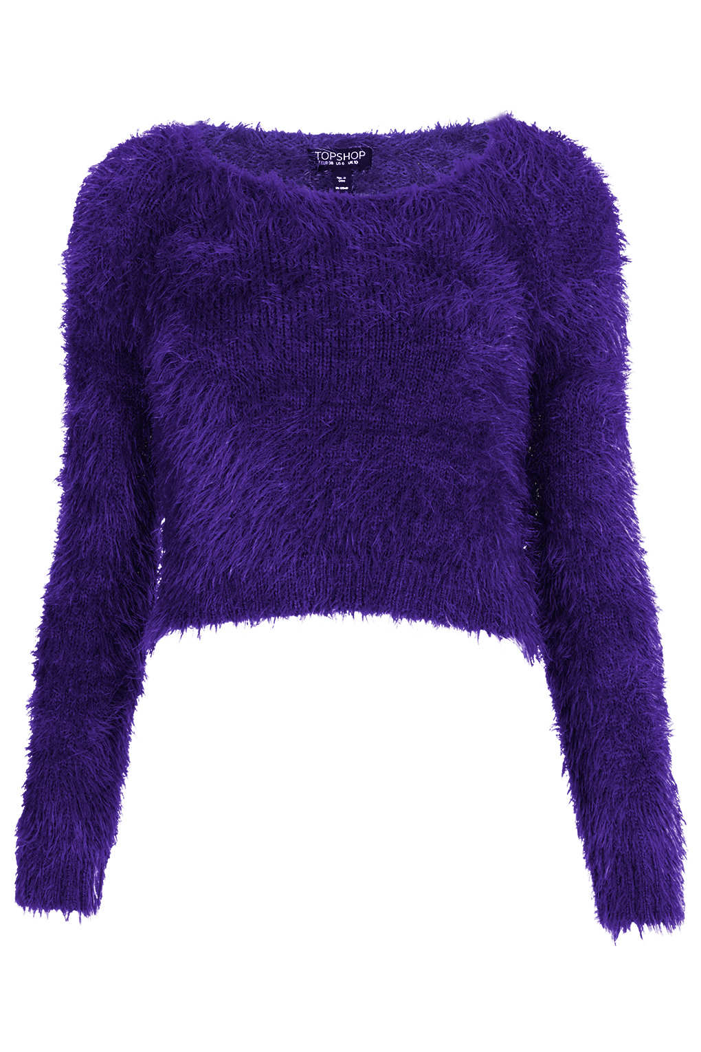 Knitting Pattern Fluffy Jumper : Topshop Knitted Fluffy Crop Jumper in Purple Lyst