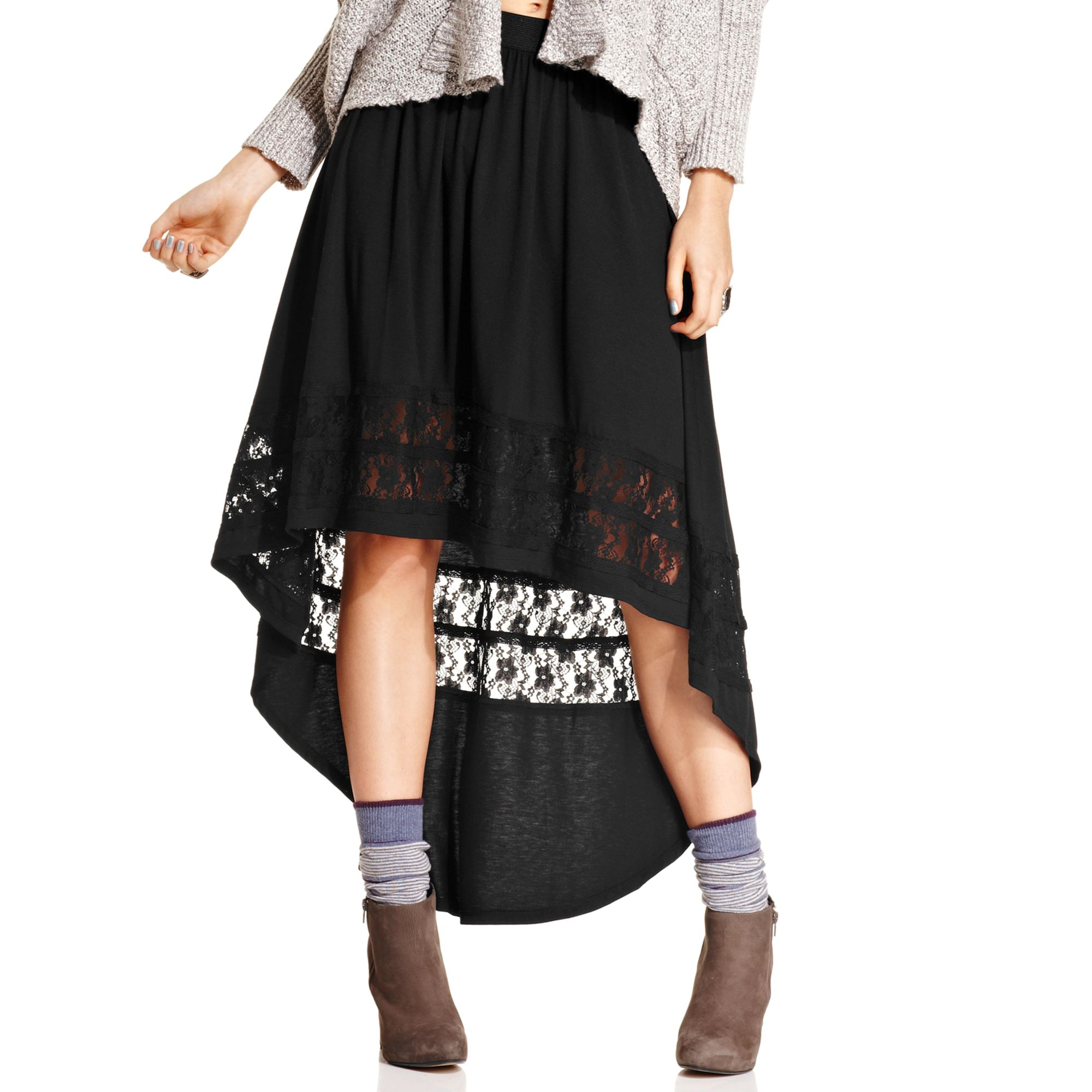 american rag lace high low maxi skirts in black classic