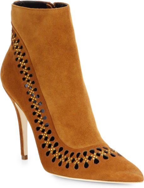 brian atwood cutout suede boots in brown terracotta lyst