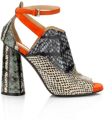 Carven Multi Snake Print Leather Heels - Lyst
