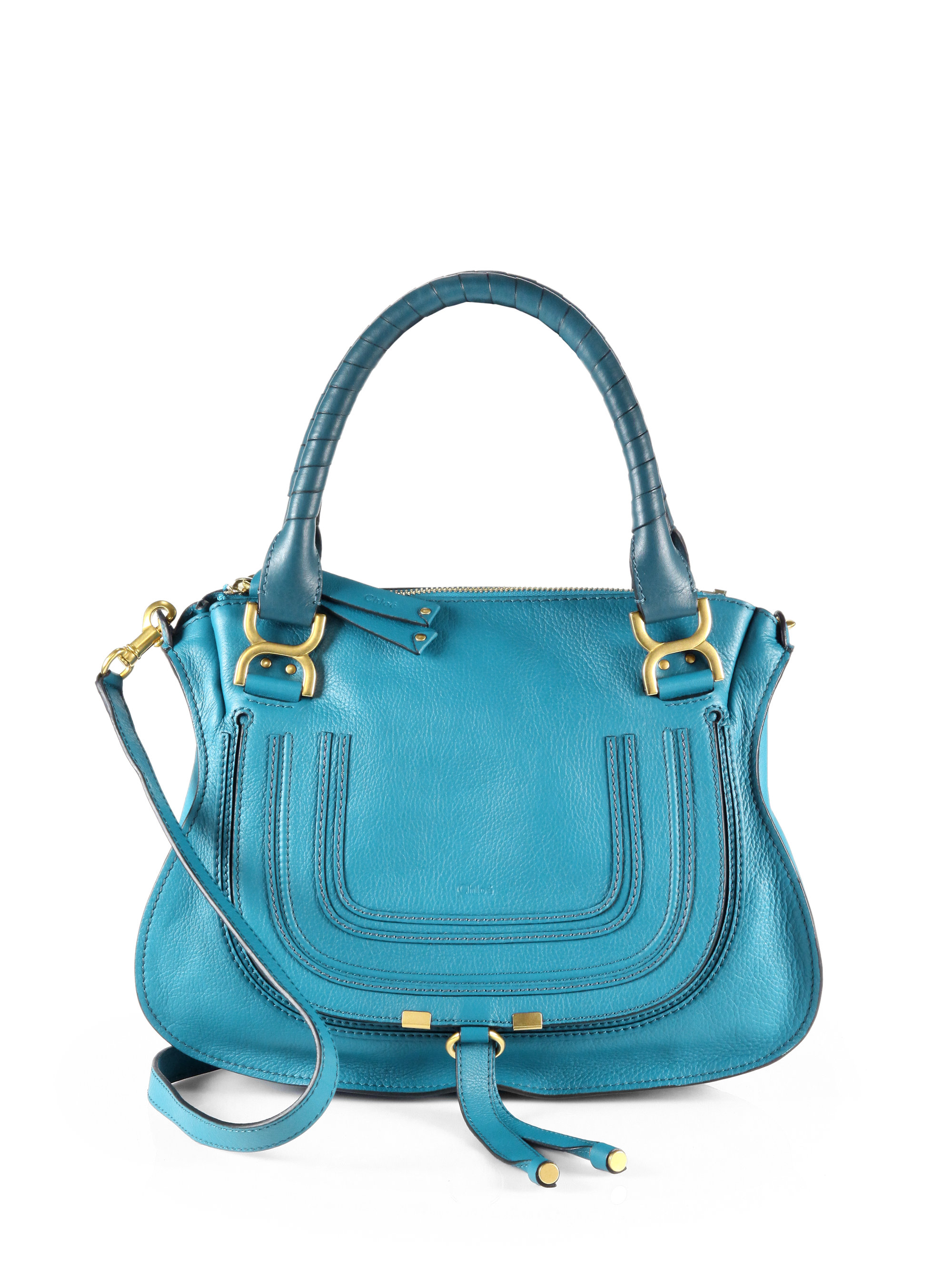 chlo marcie small satchel bag in blue laguna blue lyst. Black Bedroom Furniture Sets. Home Design Ideas