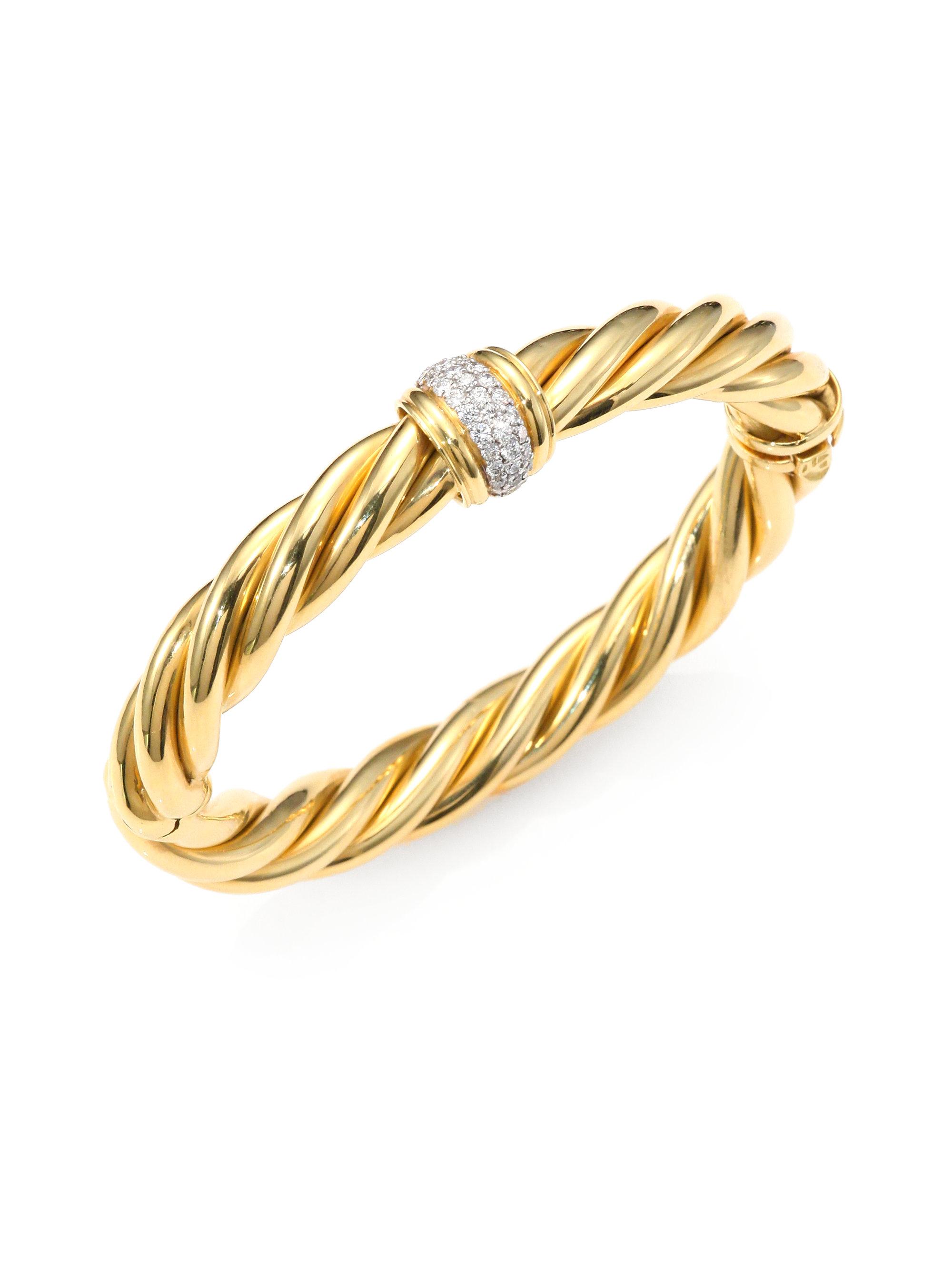 David Yurman Diamond 18k Gold Cable Cuff Bracelet In Gold
