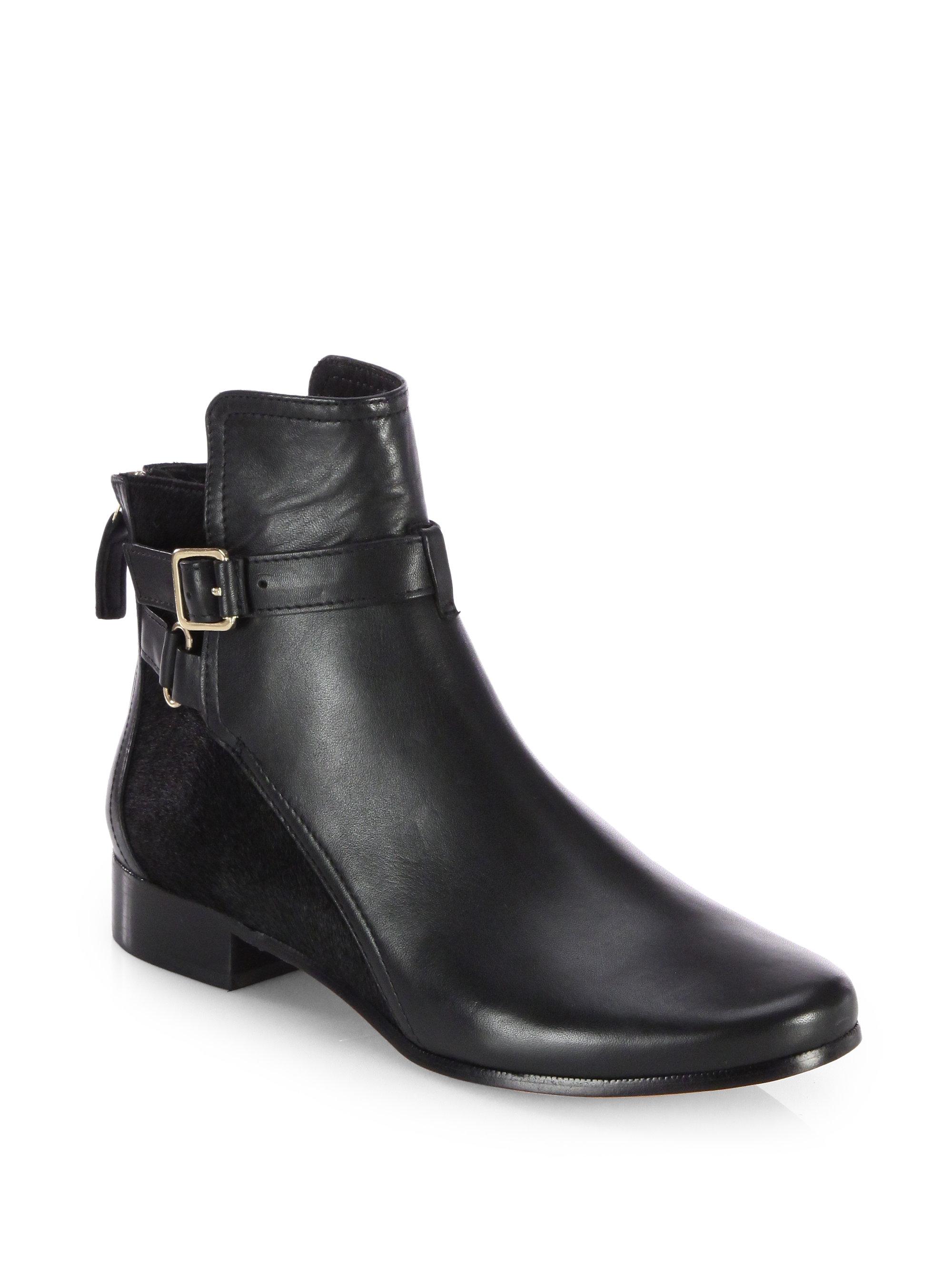 Diane Von Furstenberg Keith Leather Calf Hair Ankle Boots in Black