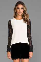 Diane Von Furstenberg Louisa Lace Sleeve Top in Cream - Lyst