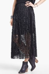 Free People Knife Pleat Lace Maxi Skirt - Lyst