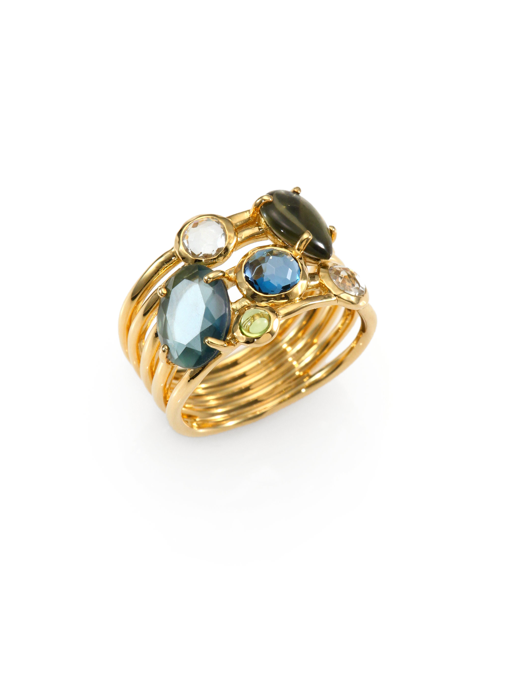 Ippolita Semiprecious Multistone 18k Gold Cluster Ring In