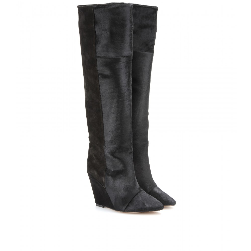 6298203fd8c Isabel Marant Sheila Calf Hair and Suede Knee Boots in Black - Lyst