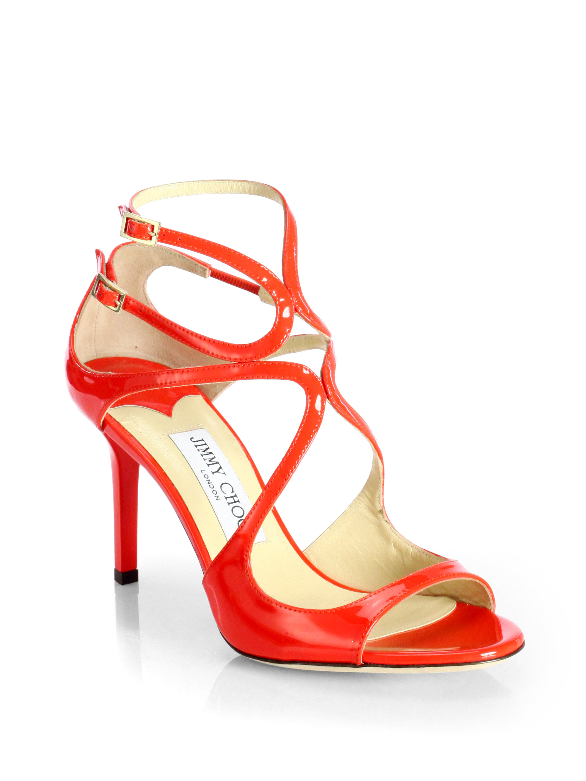 Jimmy Choo Ivette Strappy Patent Leather Sandals In Red