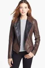 Laundry By Shelli Segal Two Tone Leather Jacket - Lyst
