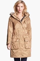 Michael by Michael Kors Hooded Anorak with Faux Fur Trim - Lyst