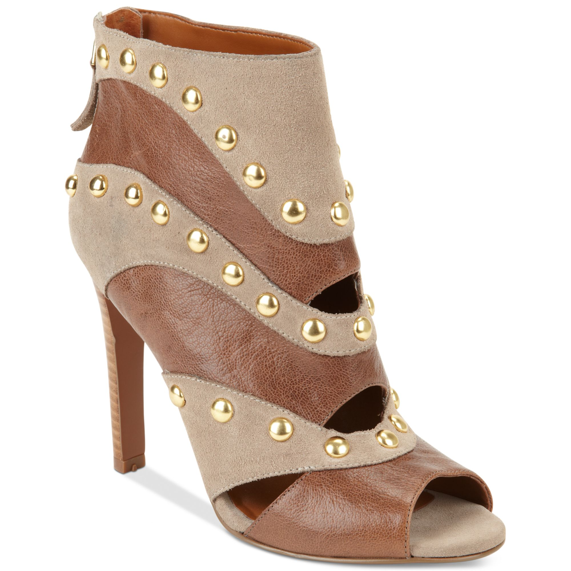 Nine West Ezzy Studded Booties In Beige Tan Lyst