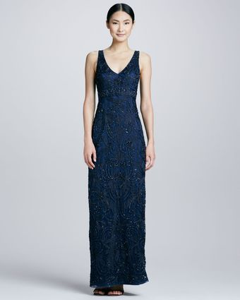 Sue Wong Embroidered Vneck Gown Navy - Lyst