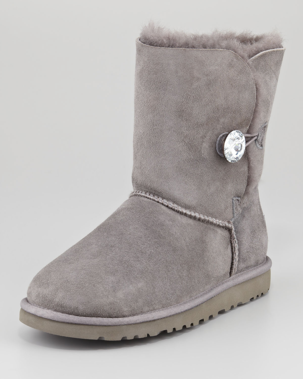 ugg bailey crystal button short boot gray in gray lyst. Black Bedroom Furniture Sets. Home Design Ideas