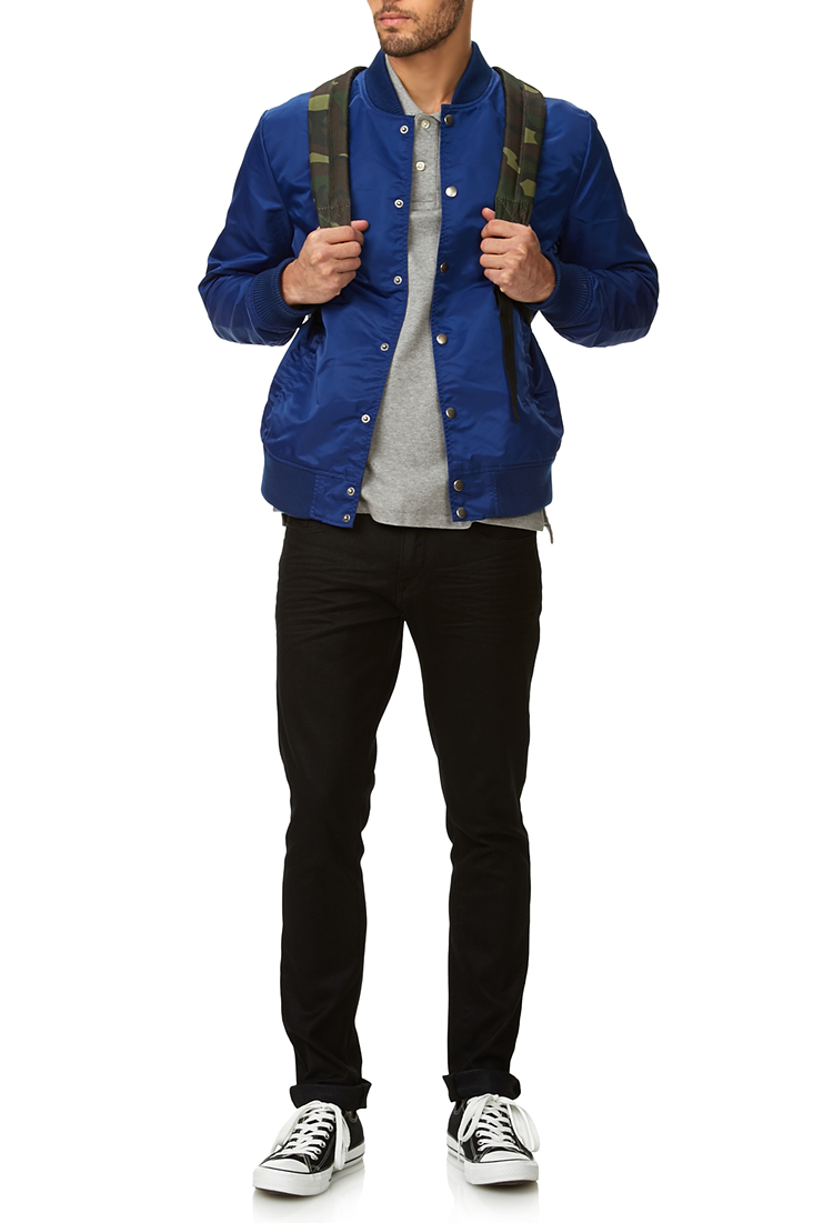 21db12c6225f Forever 21 Everyday Bomber Jacket in Blue for Men - Lyst