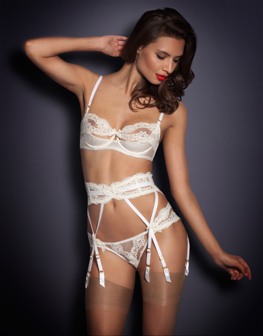 80316d7a1f69f Agent Provocateur Lacy Suspender in White - Lyst