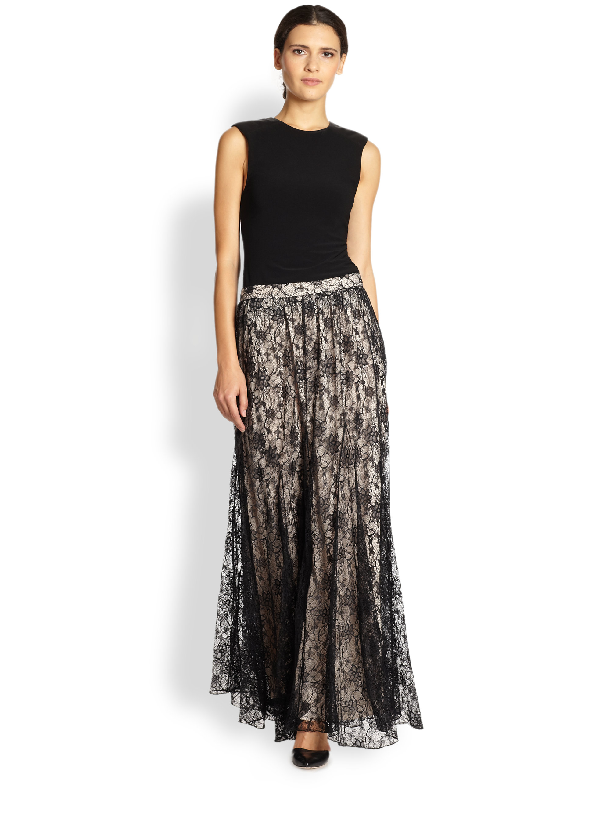 Alice   olivia Louie Draped Lace Maxi Skirt in Black | Lyst