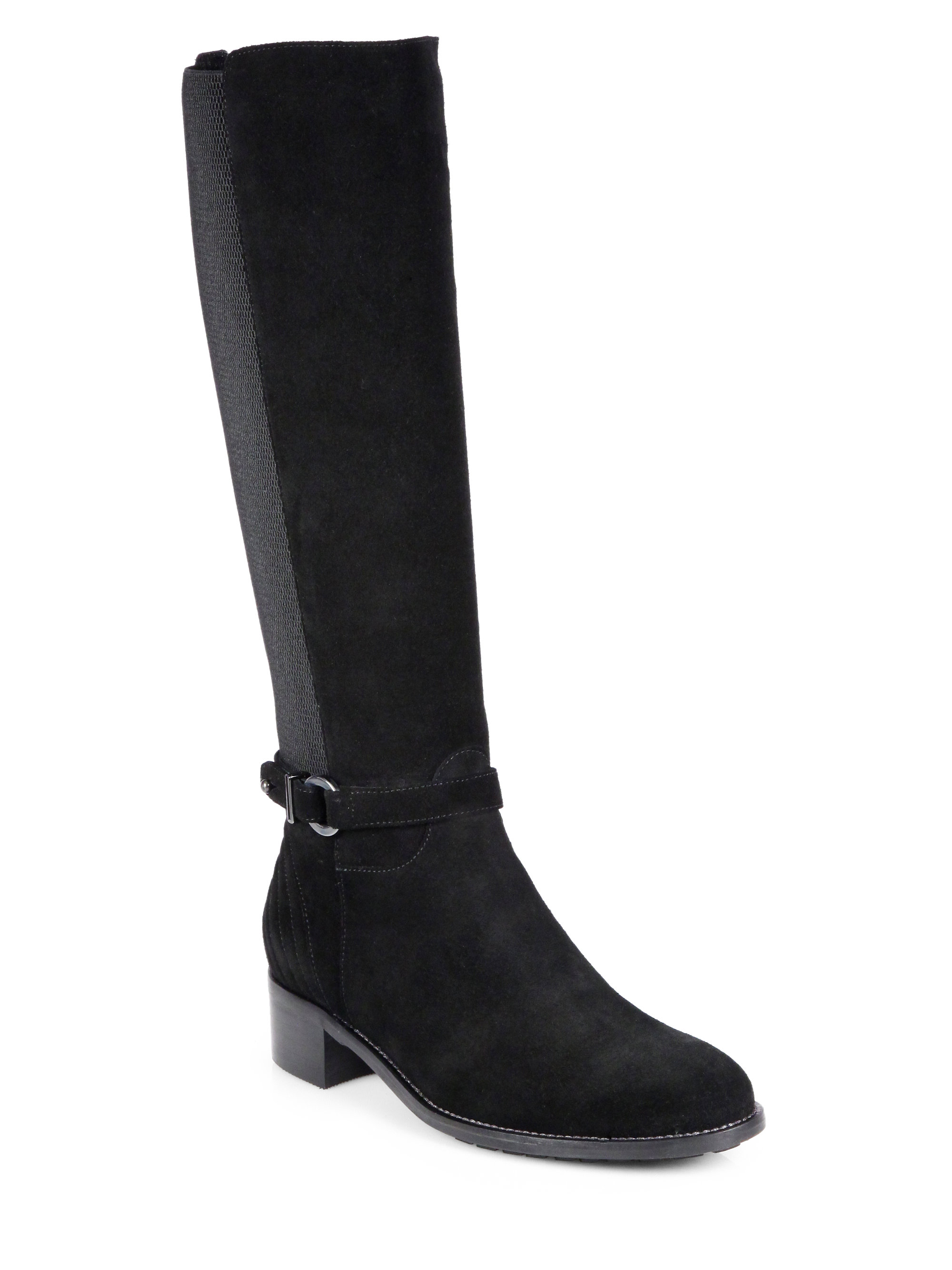 Lyst Aquatalia Orso Suede Tall Boots In Black