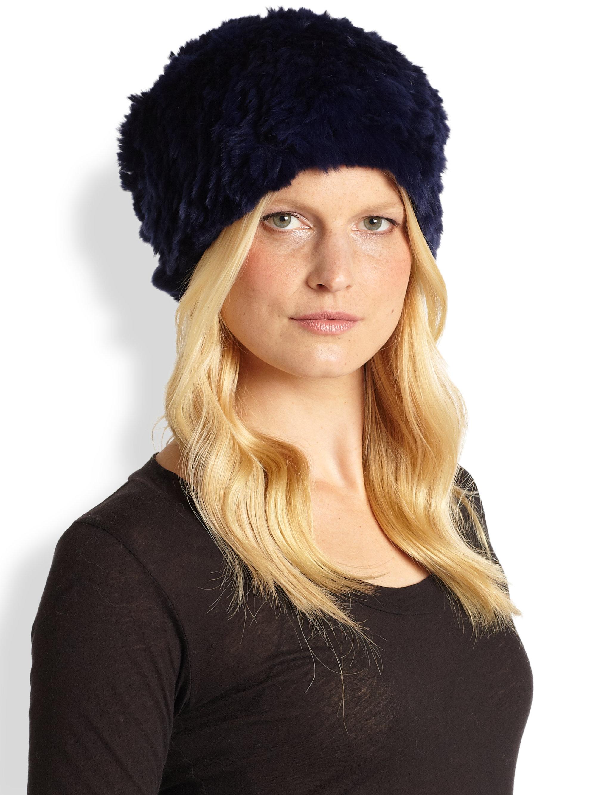 Lyst - Adrienne Landau Rex Knit Fur Hat in Blue 86db808c55c