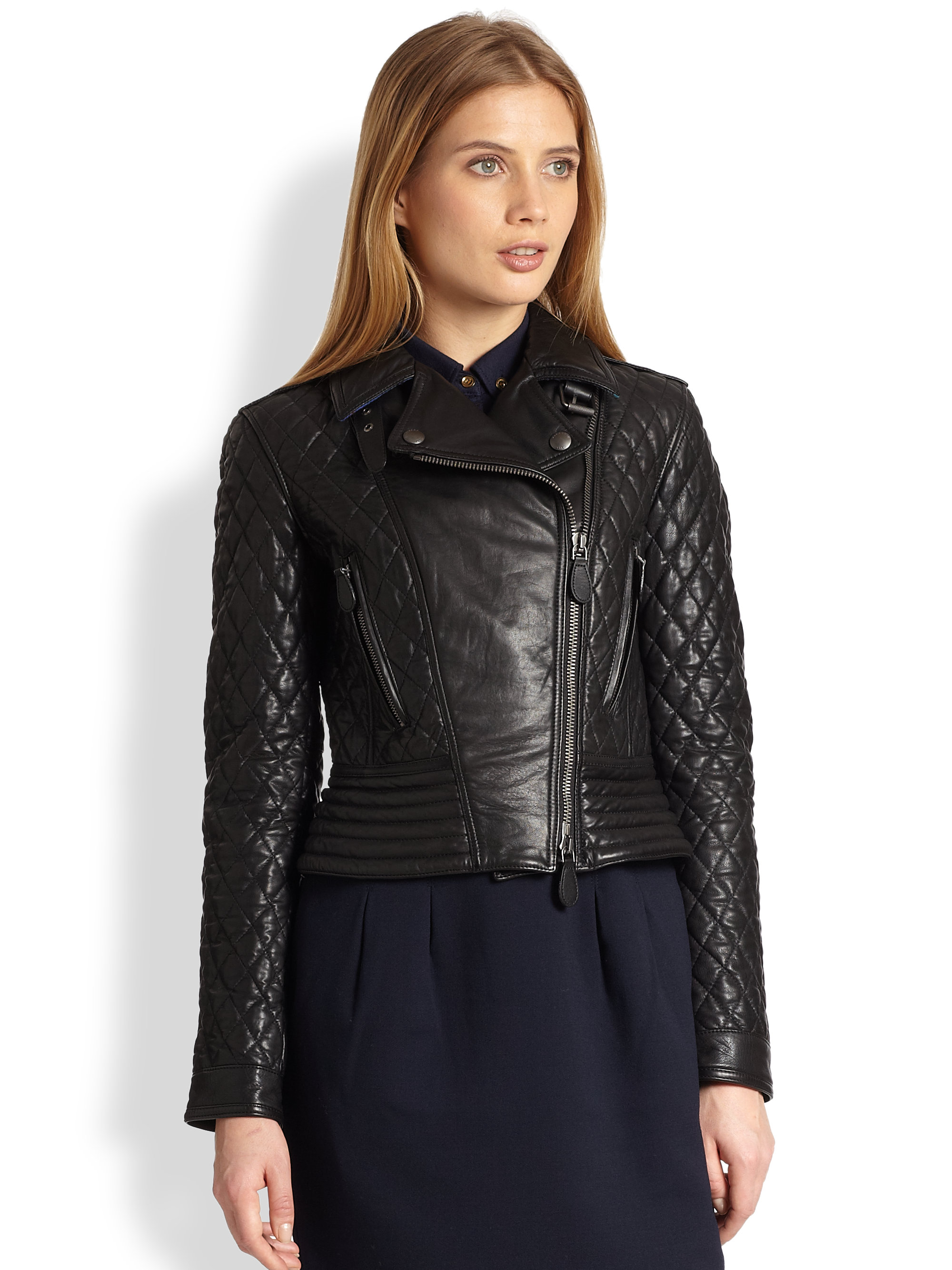 Burberry Brit Quilted Leather Biker Jacket in Black | Lyst