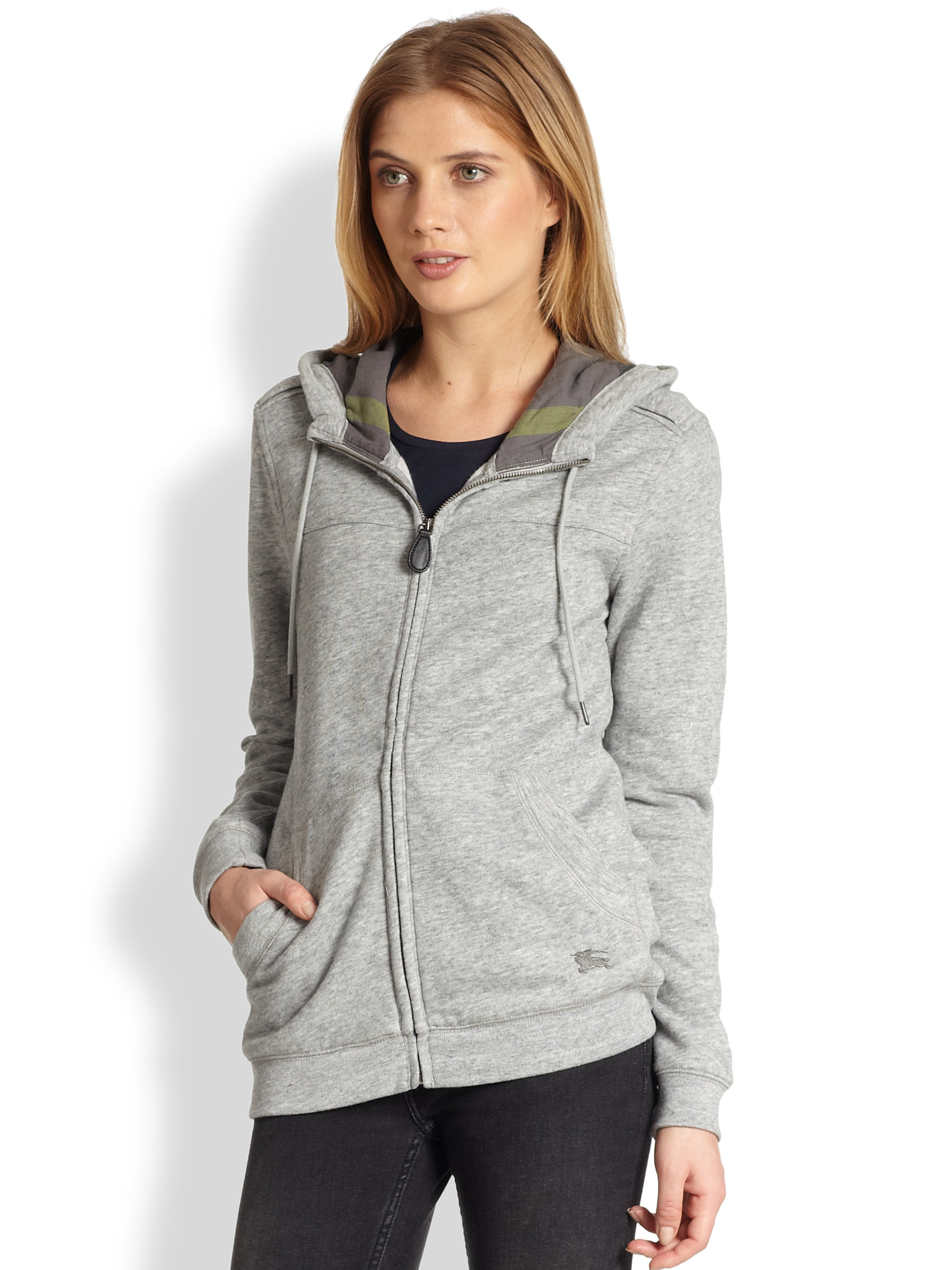 Burberry Brit Zip Front Hoodie In Gray Lyst