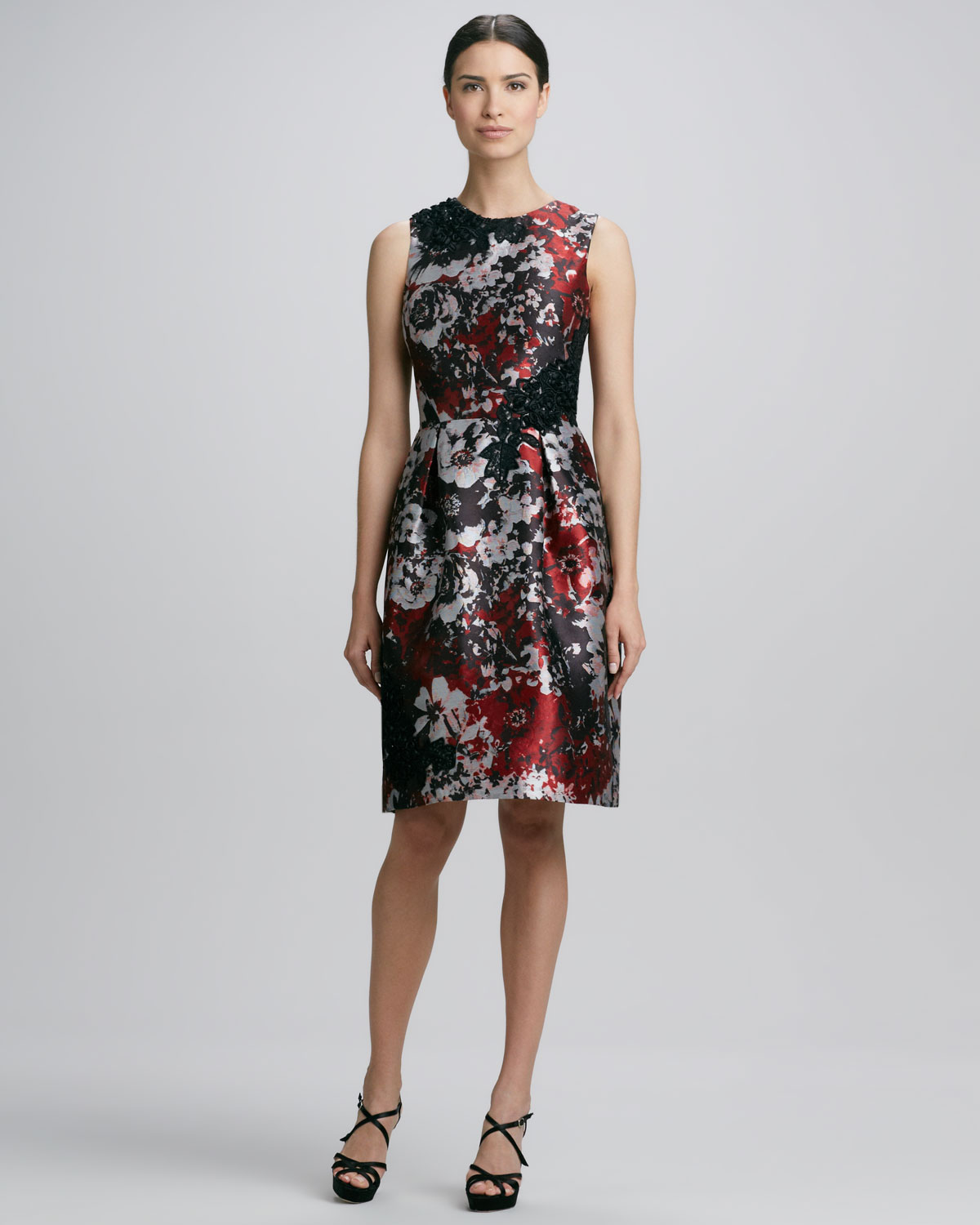 David meister Printed Embroidered Cocktail Dress - Lyst
