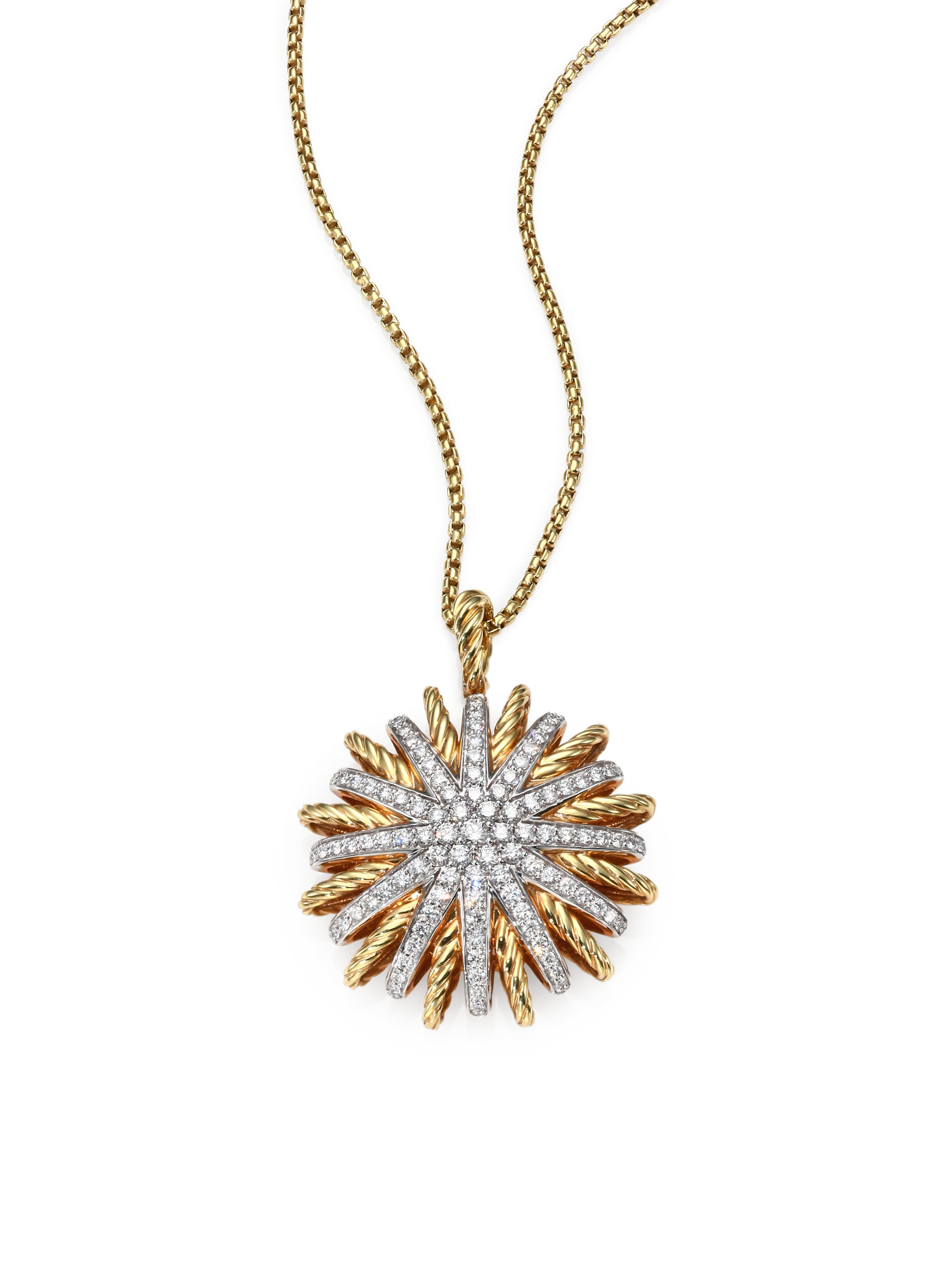 David Yurman Diamond 18k Yellow Gold Large Starburst