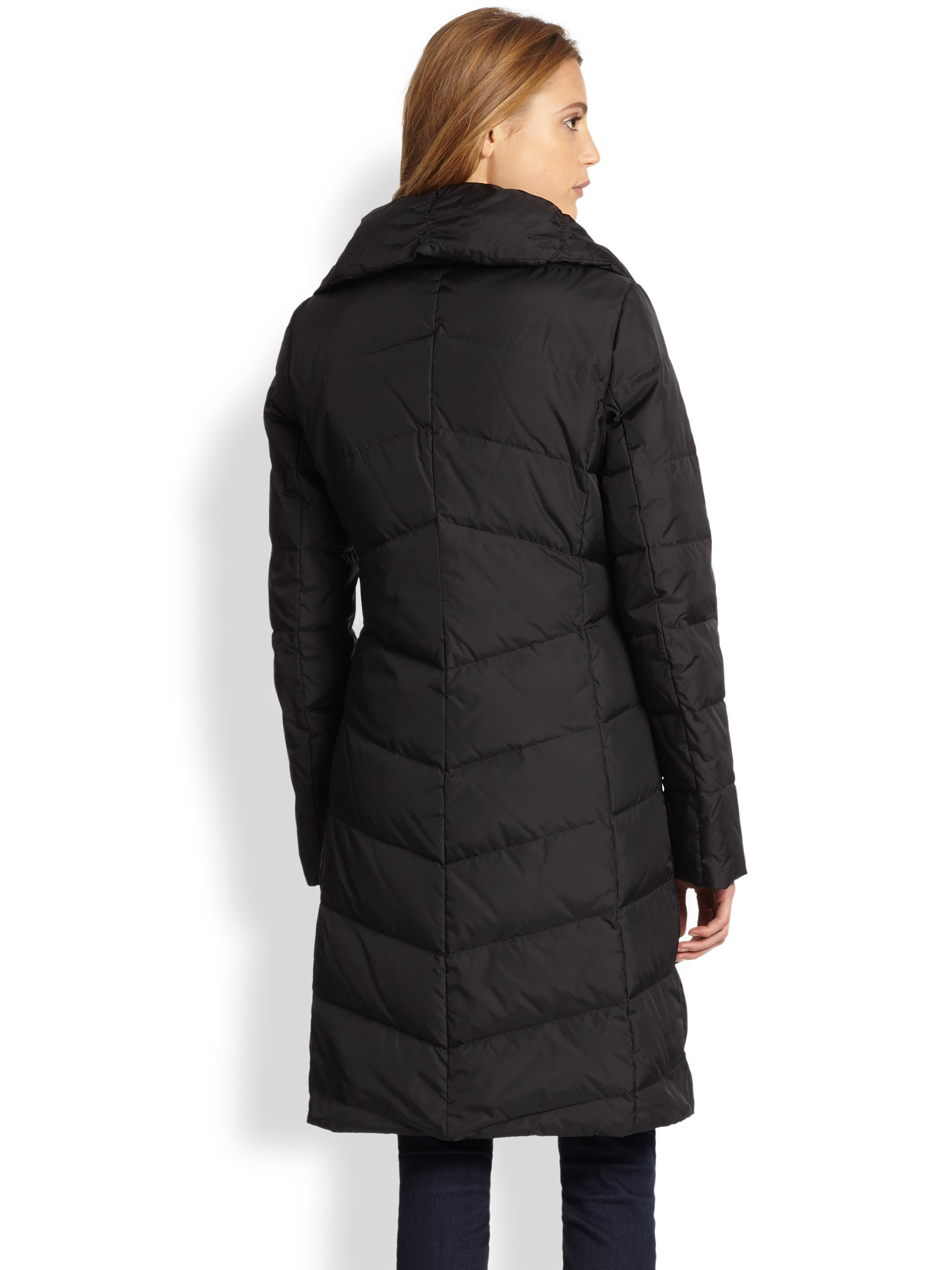 Eileen Fisher Quilted Down Coat In Black Lyst