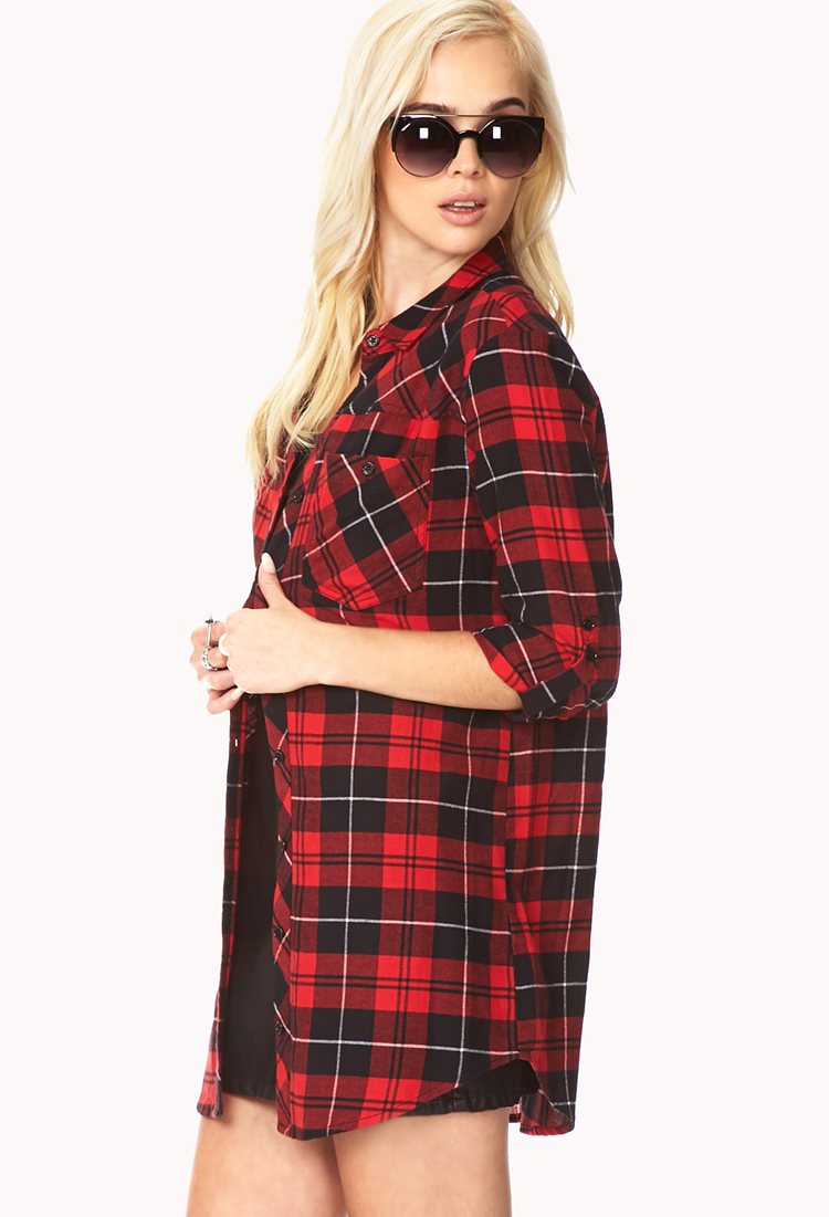 Lyst Forever 21 Rustic Plaid Shirt Dress In Red