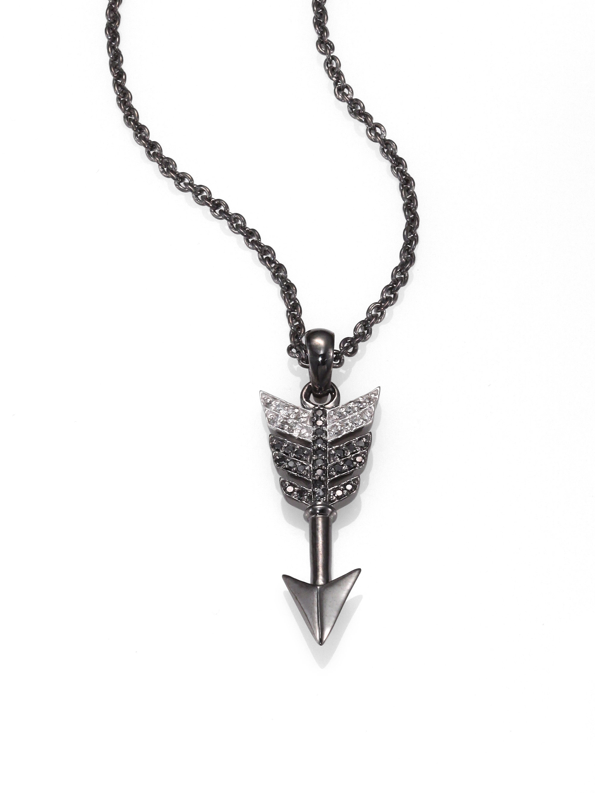 lyst necklace black jewelry silver and white diamond sterling jagger double gallery jade blackened product arrow