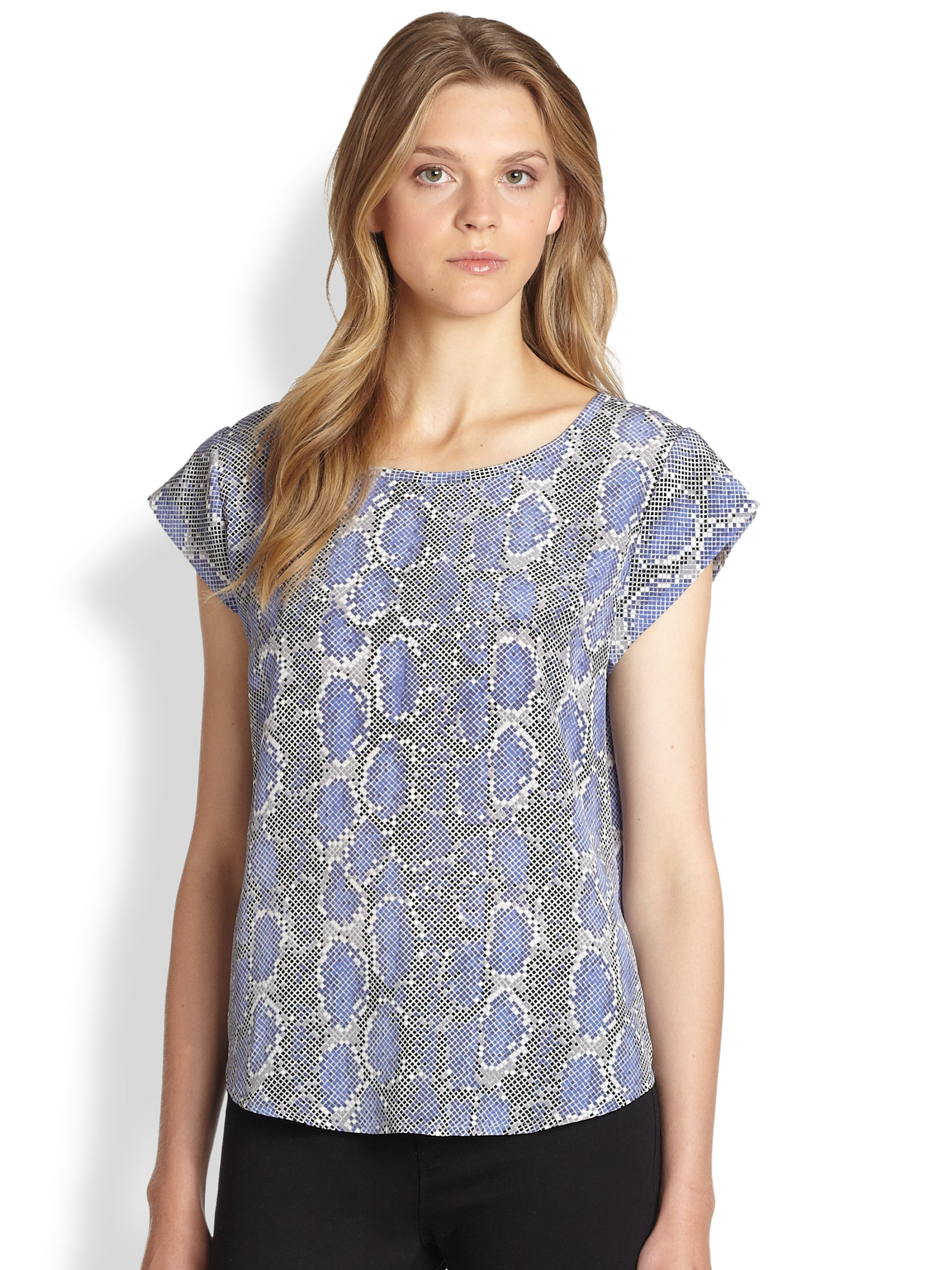 be6130f9e8683 Lyst - Joie Rancher B Silk Top in Blue