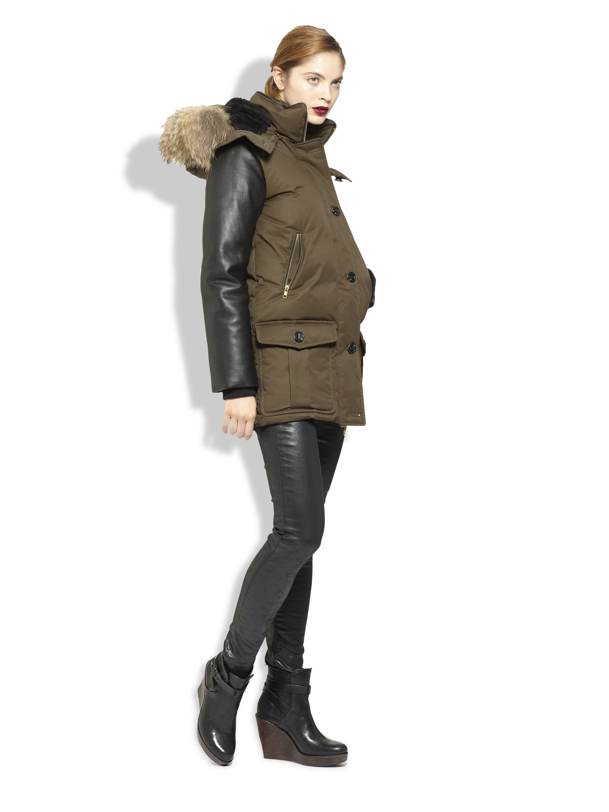 Mackage Cynthia Leathersleeved Down Parka in Brown | Lyst