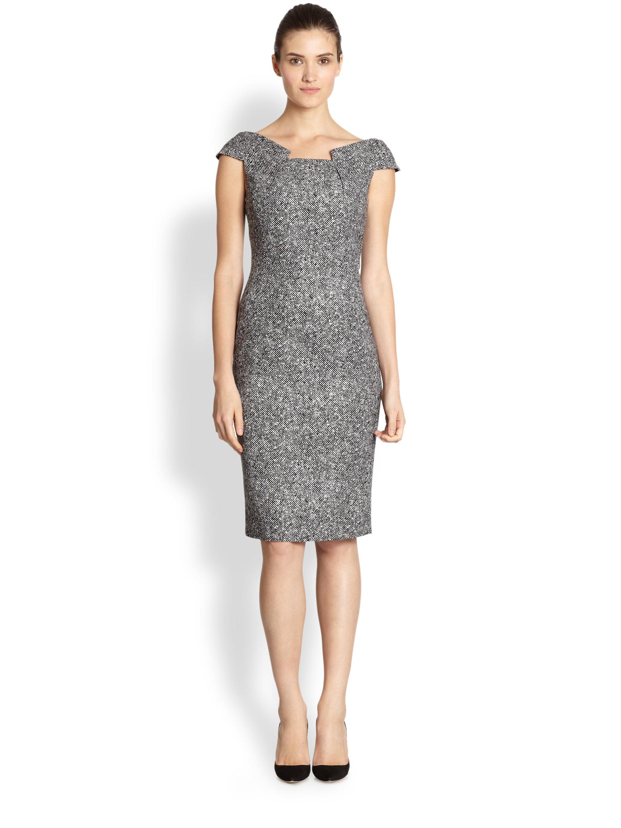 Lyst Michael Kors Wool Tweed Origami Dress in Gray