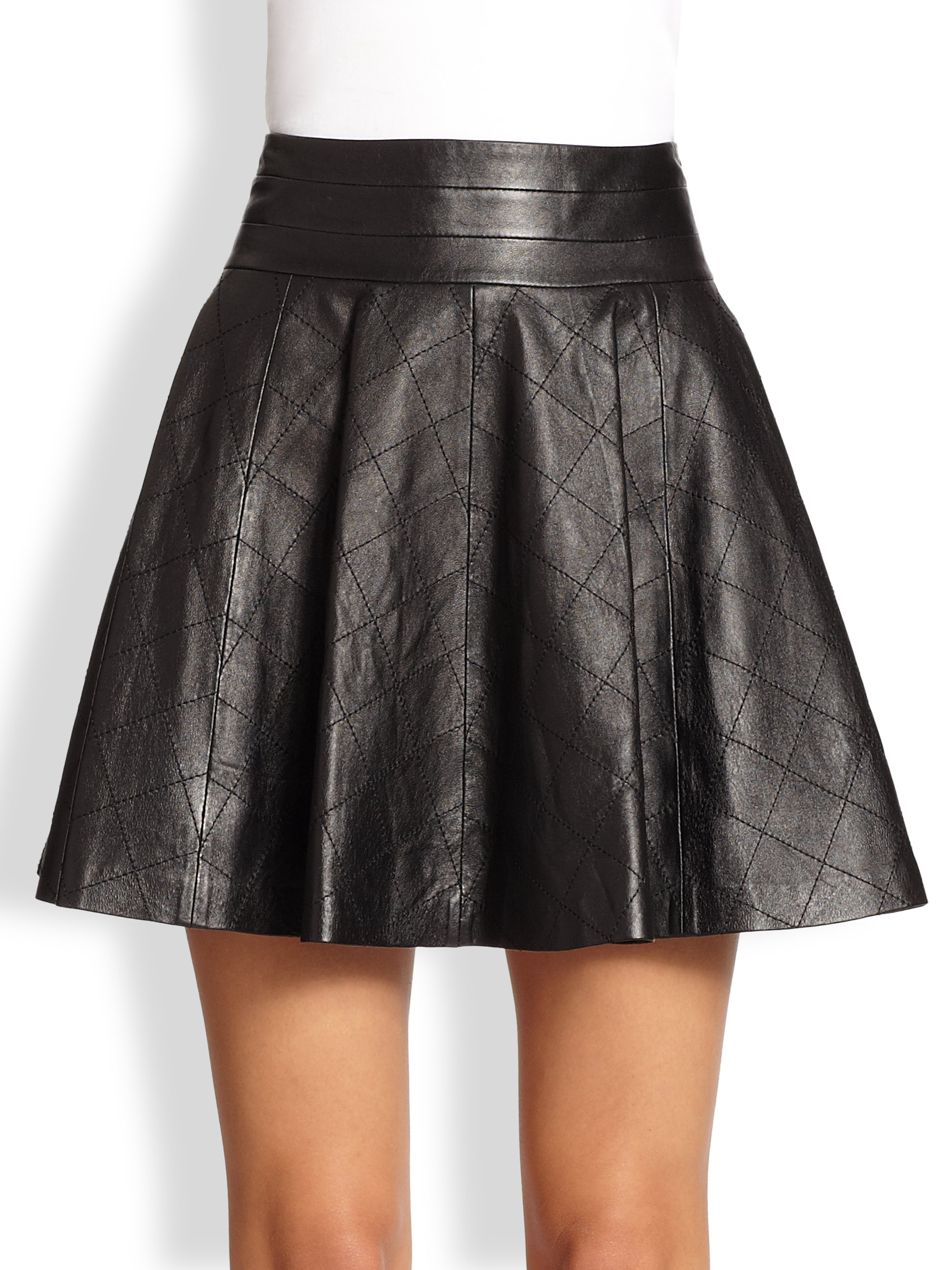 Milly Delphine Quilted Fitflare Leather Skirt in Black | Lyst