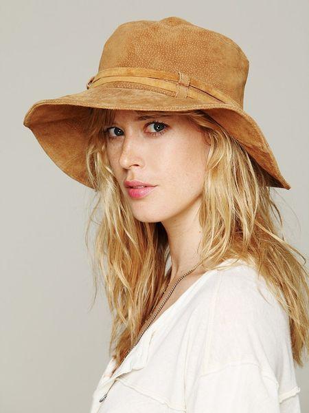 Free People Suede Floppy Hat in Brown (Tan) | Lyst