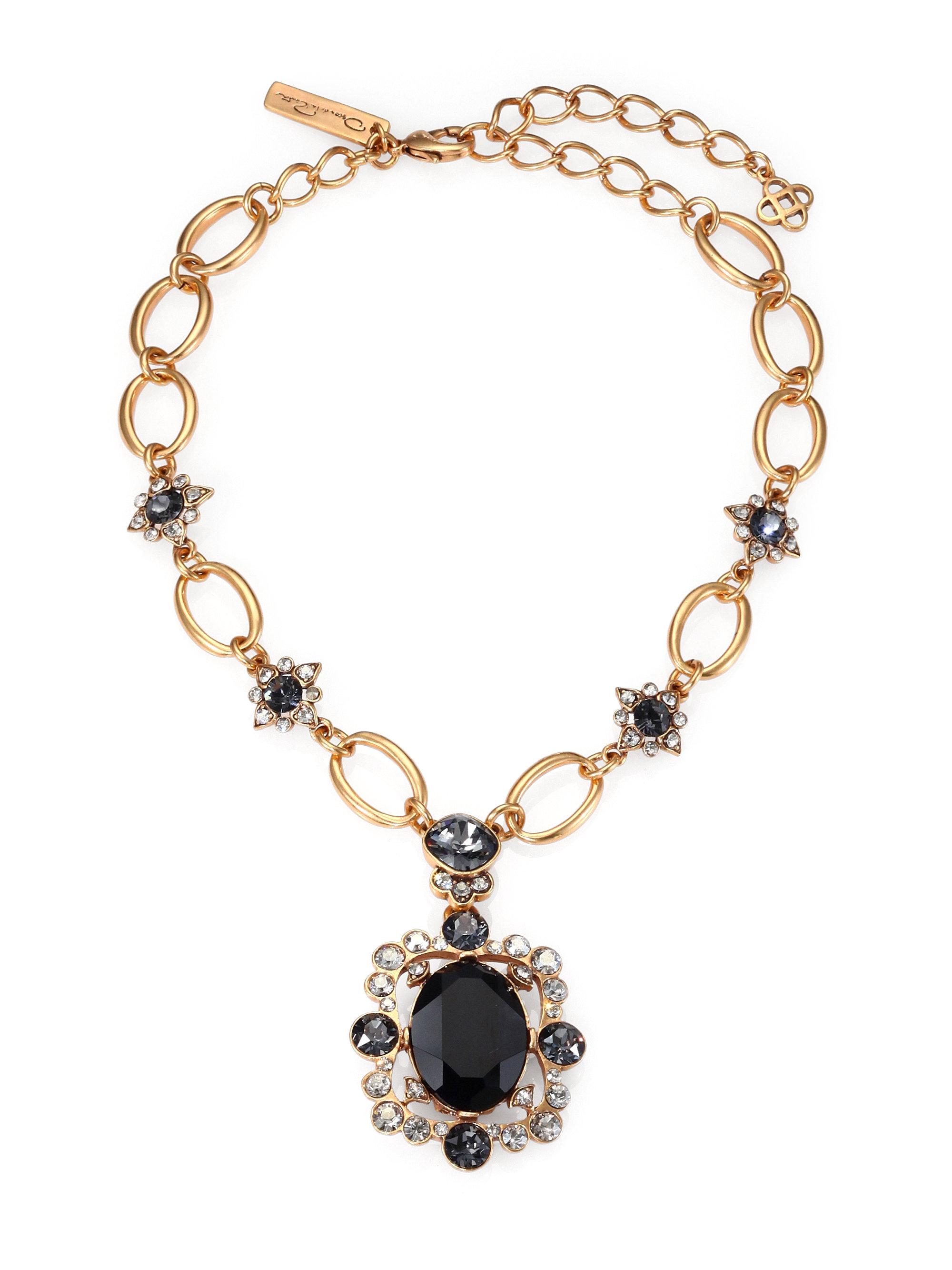 Lyst Oscar De La Renta Framed Crystal Necklace In Metallic