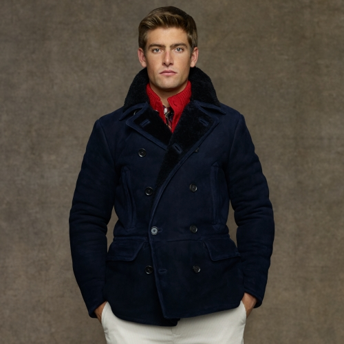 Lyst - Polo Ralph Lauren Shearling Pea Coat in Blue for Men 01d5ee55e3a68