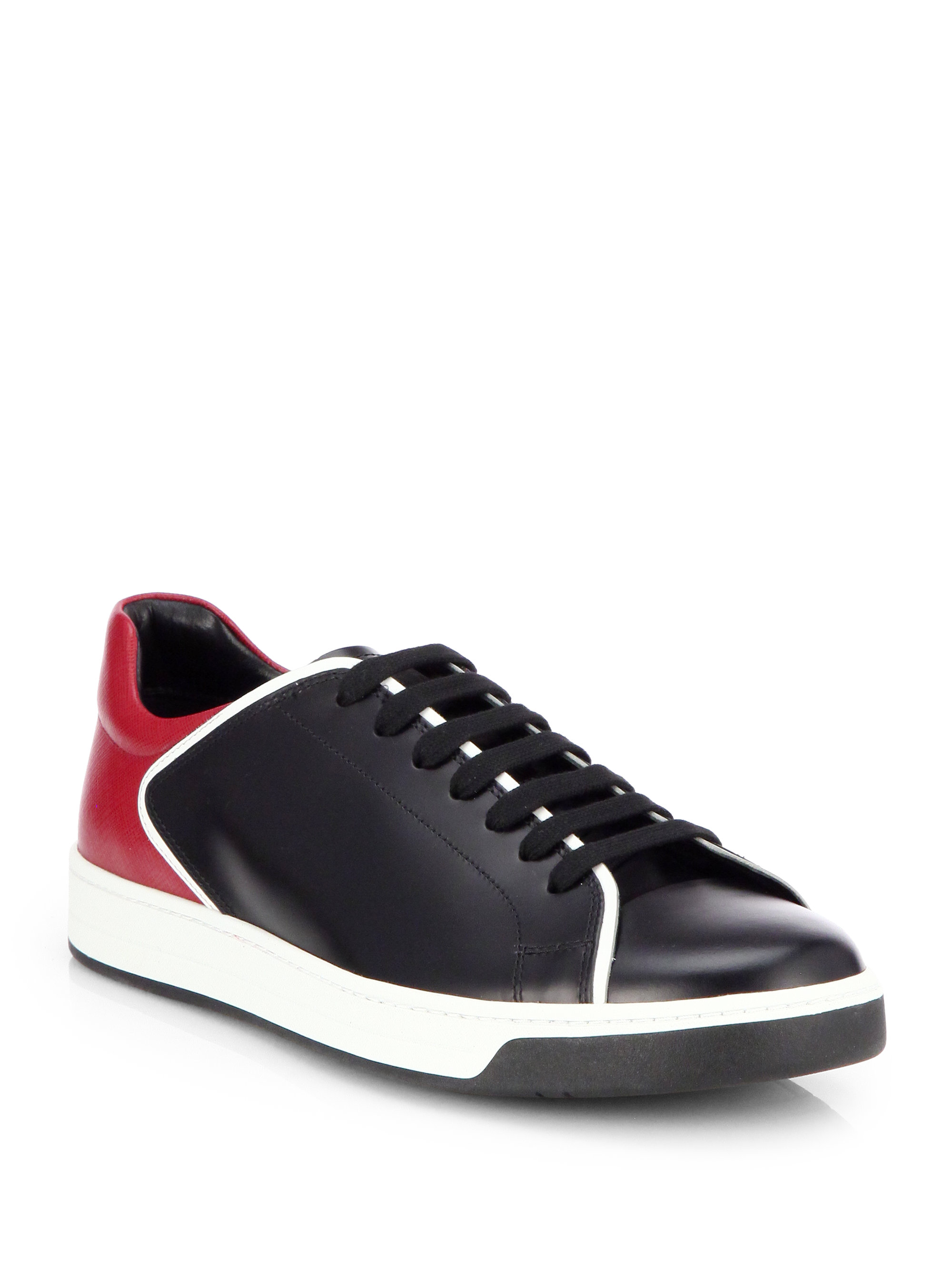 Prada Bicolor Leather Laceup Sneakers In Red For Men