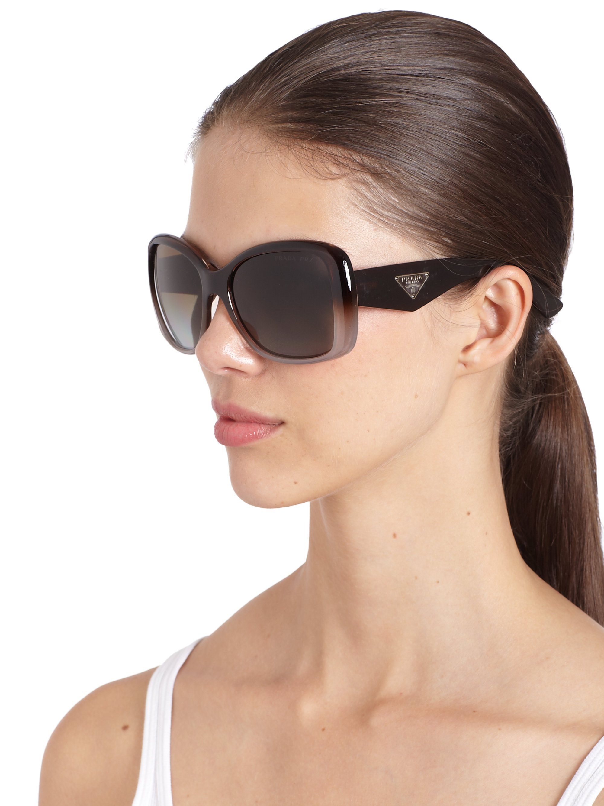 db74f8112626 cheapest prada oversized square glam sunglasses in brown lyst 88afe b4682