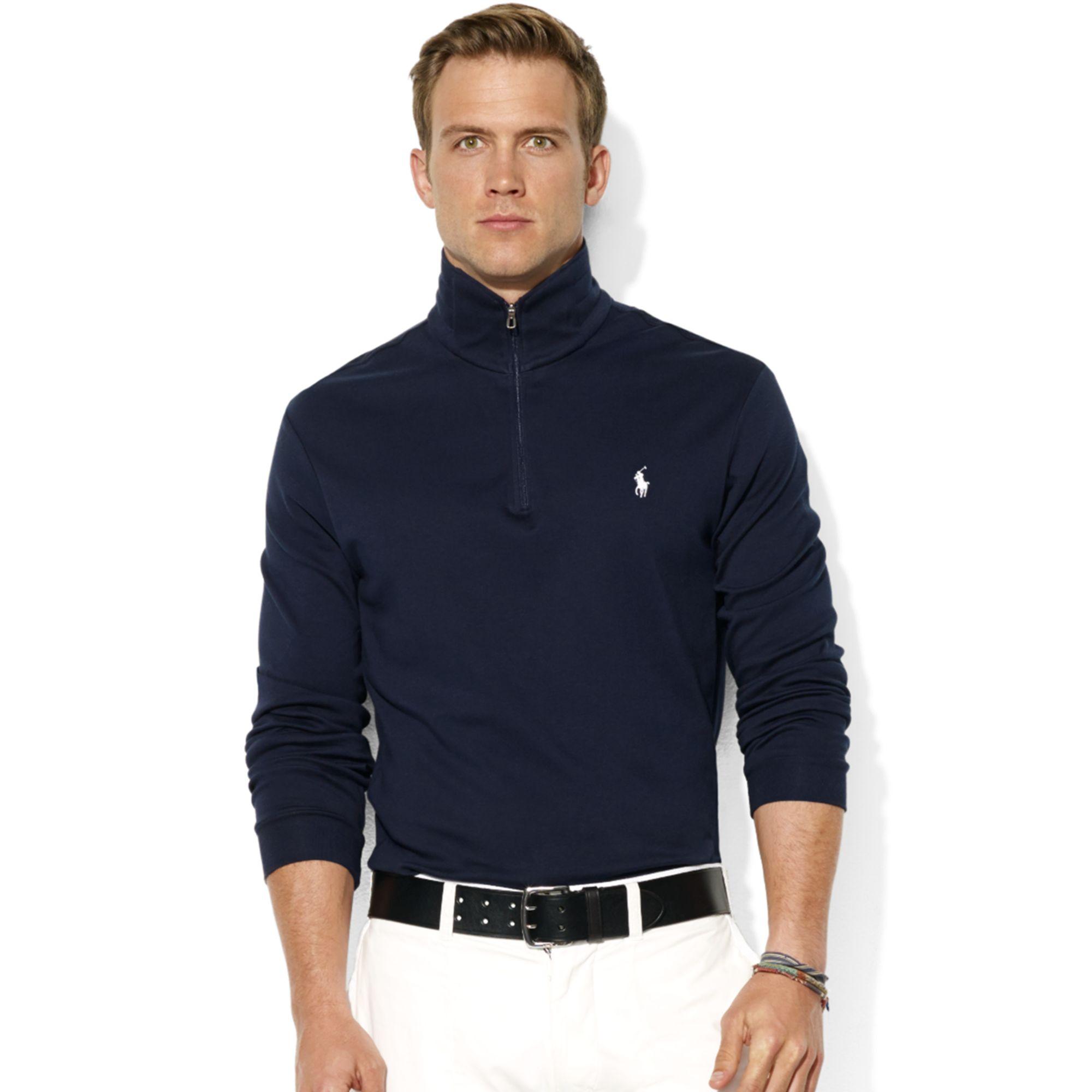 ralph lauren half zip mock neck pima cotton pullover in blue for men aviator navy lyst. Black Bedroom Furniture Sets. Home Design Ideas