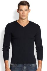 Ralph Lauren Black Label Merino Wool V-neck Sweater - Lyst