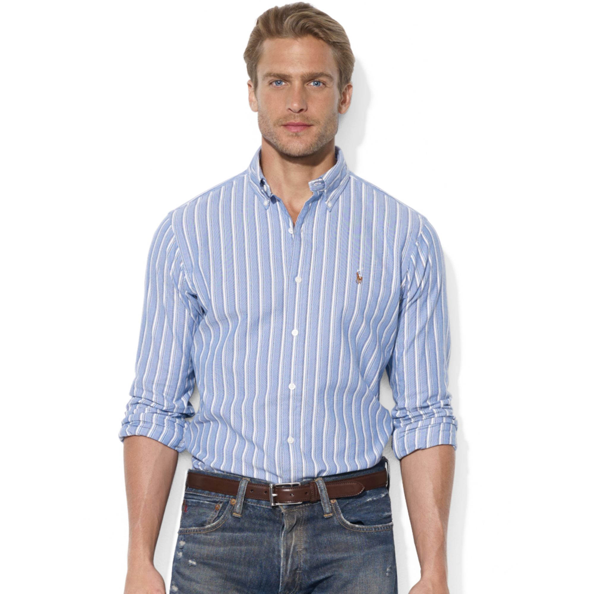 Ralph Lauren Classic Fit Long Sleeve Striped Cotton Oxford
