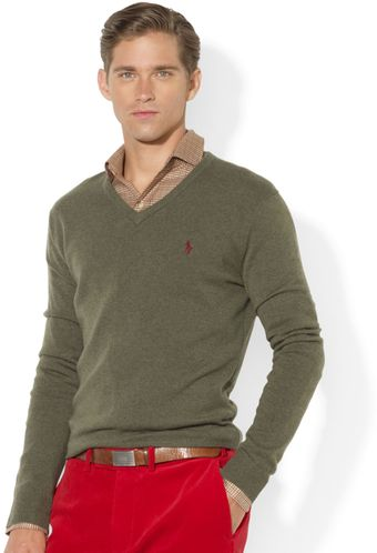 Ralph Lauren V Neck Merino Wool Sweater - Lyst
