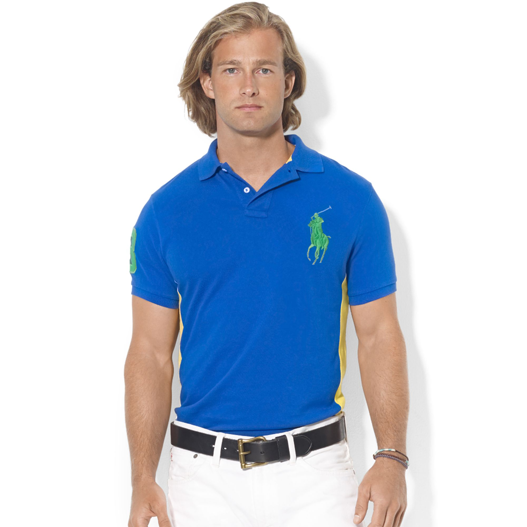 Ralph lauren custom fit colorblocked big pony mesh polo in for Ralph lauren custom fit mesh polo shirt