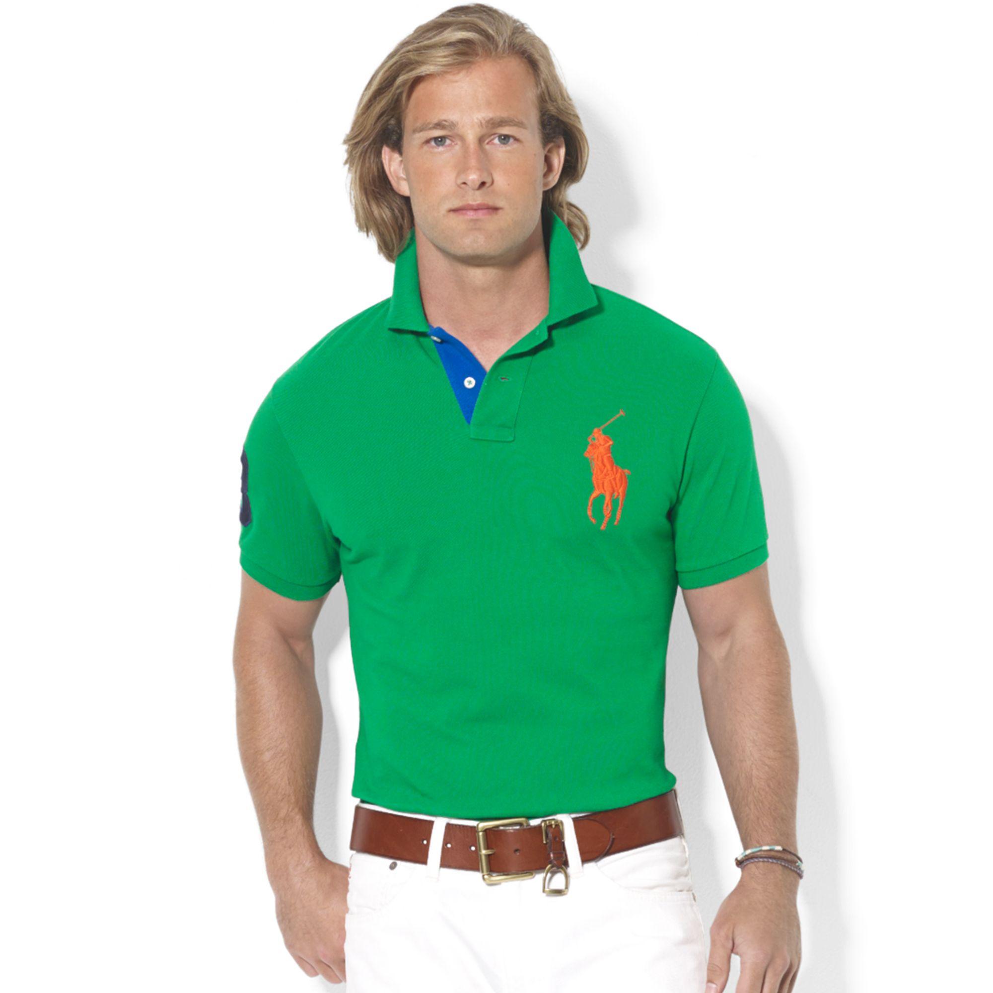 Ralph Lauren Custom Fit Big Pony Mesh Polo In Green For