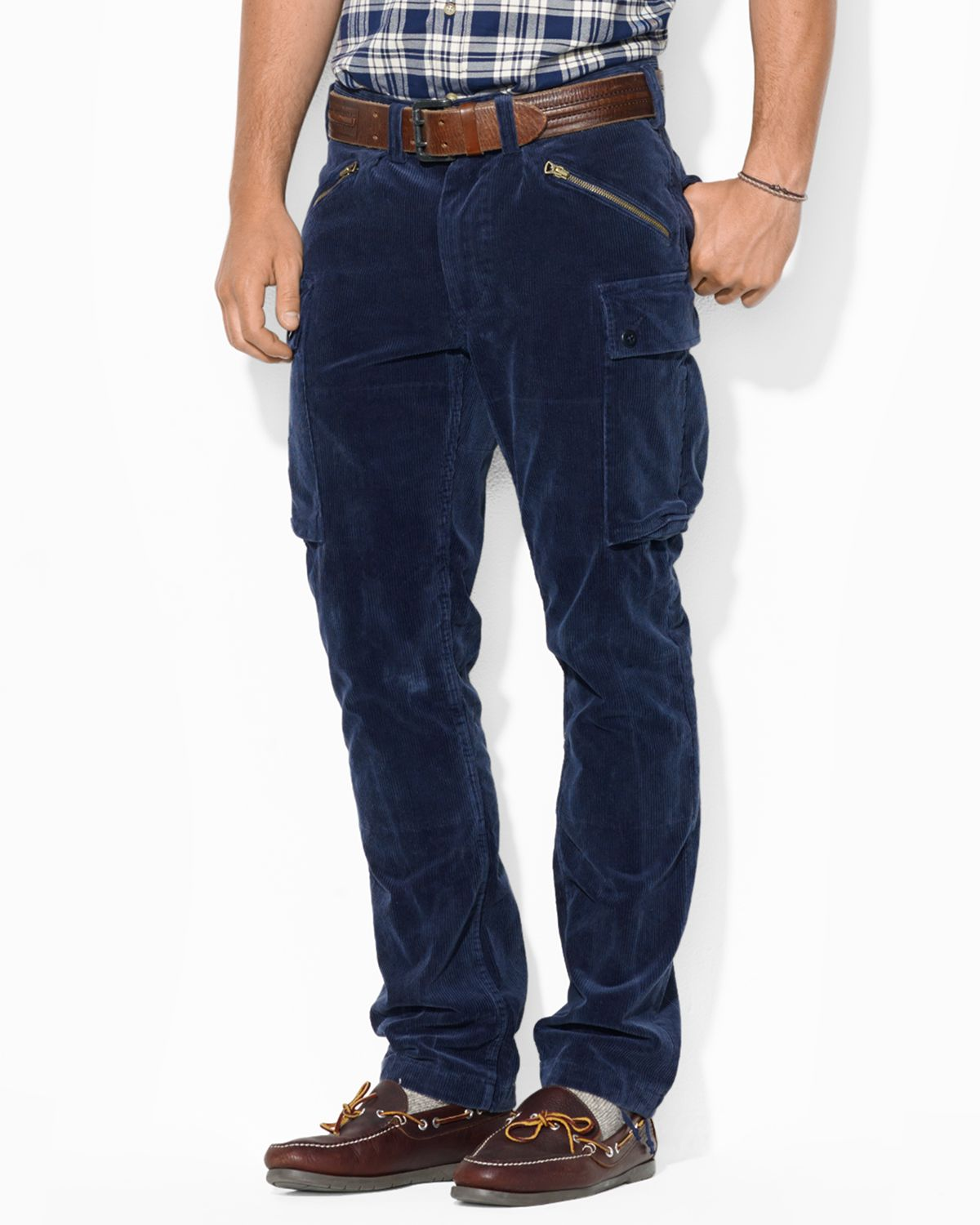 Ralph lauren Polo Straight-fit Corduroy Cargo Pant in Blue for Men ...