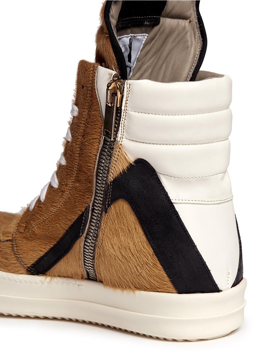 rick owens geobasket ponyhair hightop sneakers in natural for men lyst. Black Bedroom Furniture Sets. Home Design Ideas