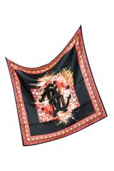 Roberto Cavalli Black and Red Signature Silk Square Scarf - Lyst